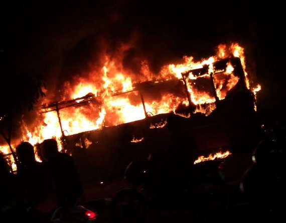 5-2 buses torched in surat after police detain dozen patidar protesters