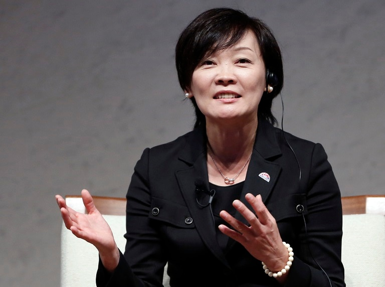 Akie Abe, wife of Japan's PM Shinzo Abe, speaks during a special talk session at the World Assembly for Women in Tokyo