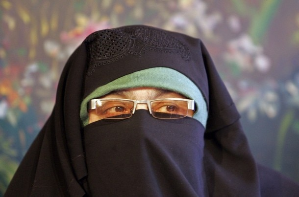 Asiya Andrabi, chief of Kashmiri women's separatist group speaks during news conference in Srinagar