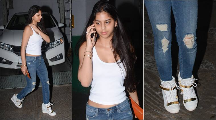 3-suhana khan wore a white t shirt from givenchy which costs more than 50000 rupees