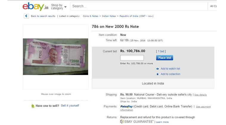 1--old 500 and 1000 rupee note selling online on ebay