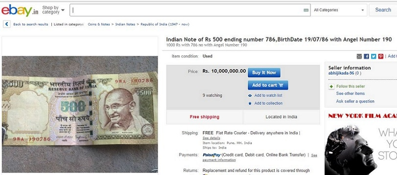 2-old 500 and 1000 rupee note selling online on ebay