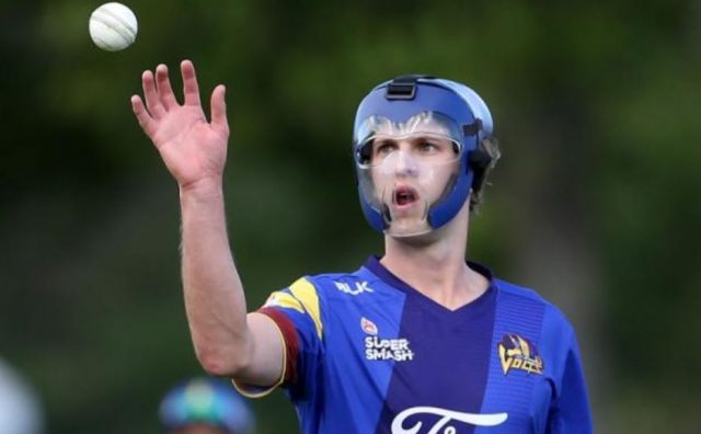1-otago pace bowler warren barnes bowling in his protective helmet see video