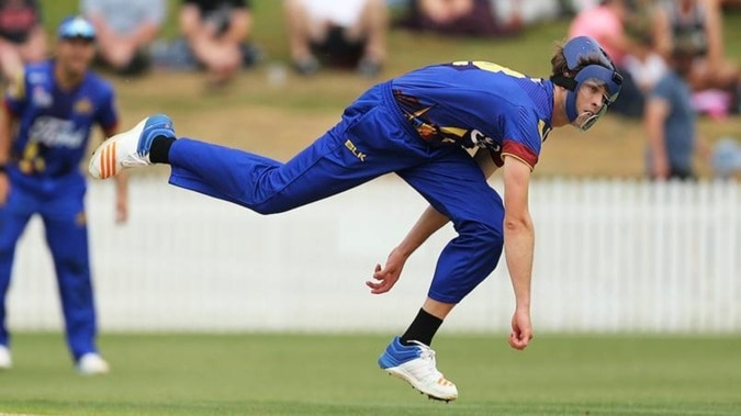 2-otago pace bowler warren barnes bowling in his protective helmet see video