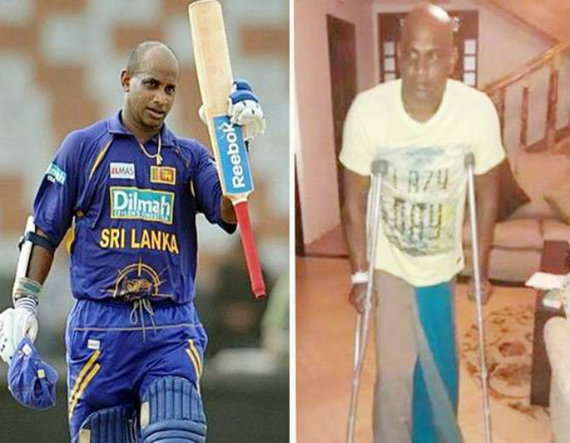1-cricket sanath jayasuriya unable to walk without crutches