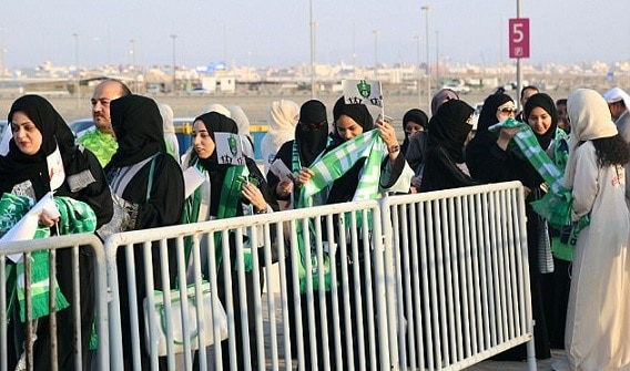 2-saudi women enter stadium for first time to watch soccer