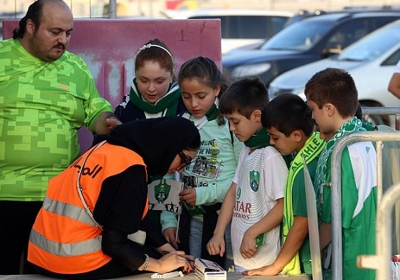 3-saudi women enter stadium for first time to watch soccer