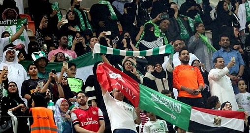 5-saudi women enter stadium for first time to watch soccer
