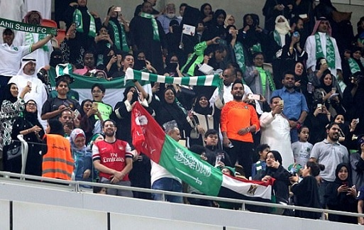 8-saudi women enter stadium for first time to watch soccer