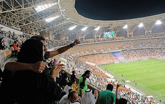 9-saudi women enter stadium for first time to watch soccer