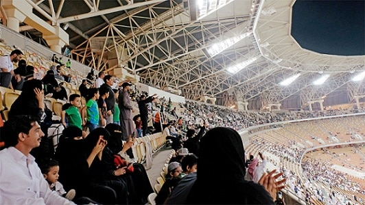 11-saudi women enter stadium for first time to watch soccer