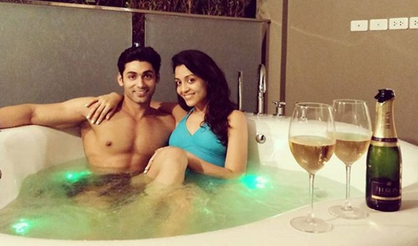 2-balika vadhu actor ruslaan mumtaz gets romantic in a bathtub with wife nirali mehta on her birthday