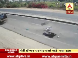 jeep collides with bike in deesa highway