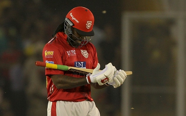 Mohali: Chris Gayle of Kings XI Punjab celebrates his half century during an IPL 2018 match between Kings XI Punjab and Chennai Super Kings at the Punjab Cricket Association IS Bindra Stadium in Mohali on April 15, 2018. (Photo: Surjeet Yadav/IANS)