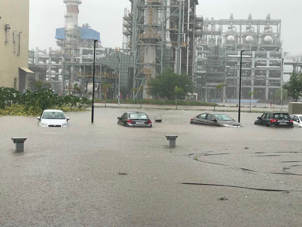 Here Is How Rain Entered In Gujarat's Jamnagar Oil Refinery