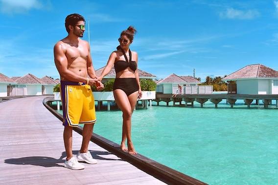 Image result for Debina Bonnerjee and Gurmeet Choudhary maldives